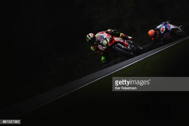 Shane Byrne of Be Wiser Ducati Racing Team rides during warm up for the British Superbike Championship finale at Brands Hatch on October 15 2017 in...