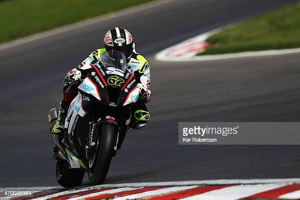 Shane Byrne of Great Britain and PBM Kawasaki rides during practice for the MCE British Superbike Championship race at Brands Hatch circuit on April...