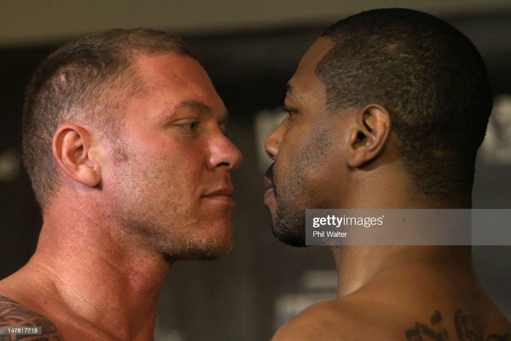 Shane Cameron and Monte Barrett pose up during the weigh in ahead of their heavyweight bout at Sky City Convention Centre on July 4 2012 in Auckland...