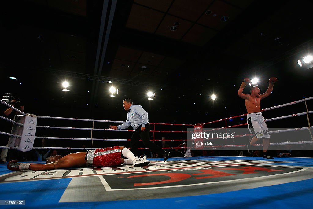 Shane Cameron celebrates his win after knocking out Monte Barrett during their heavyweight bout at Sky City Convention Centre on July 5 2012 in...