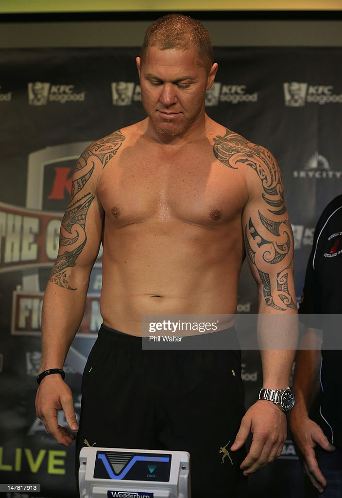 Shane Cameron gets on the scales during his weigh in with Monte Barrett ahead of their heavyweight bout at Sky City Convention Centre on July 4 2012...