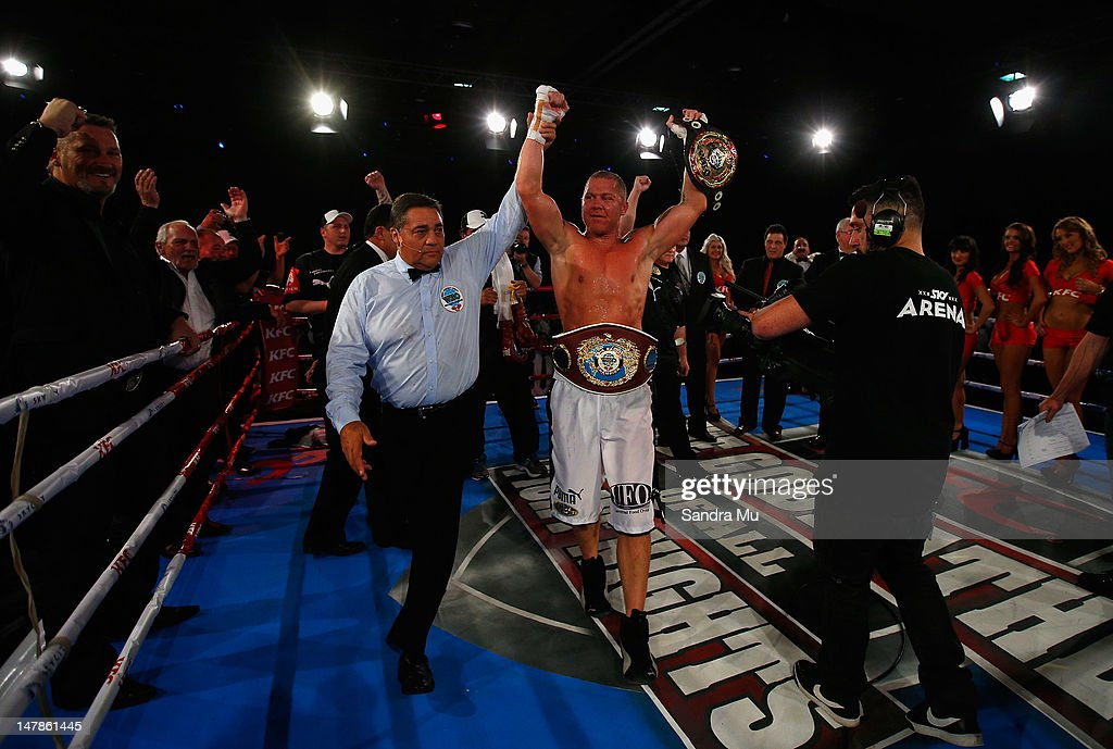 Shane Cameron is announced WBO Asia Pacific and Oriental Heavyweight Champion after knocking out Monte Barrett during their heavyweight bout at Sky...