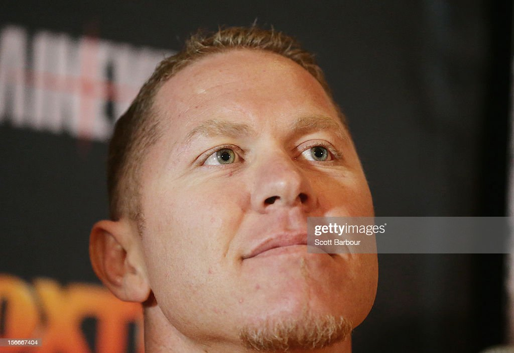 Shane Cameron of New Zealand looks on during a press conference at Crown Entertainment Complex on November 19 2012 in Melbourne Australia Danny Green...