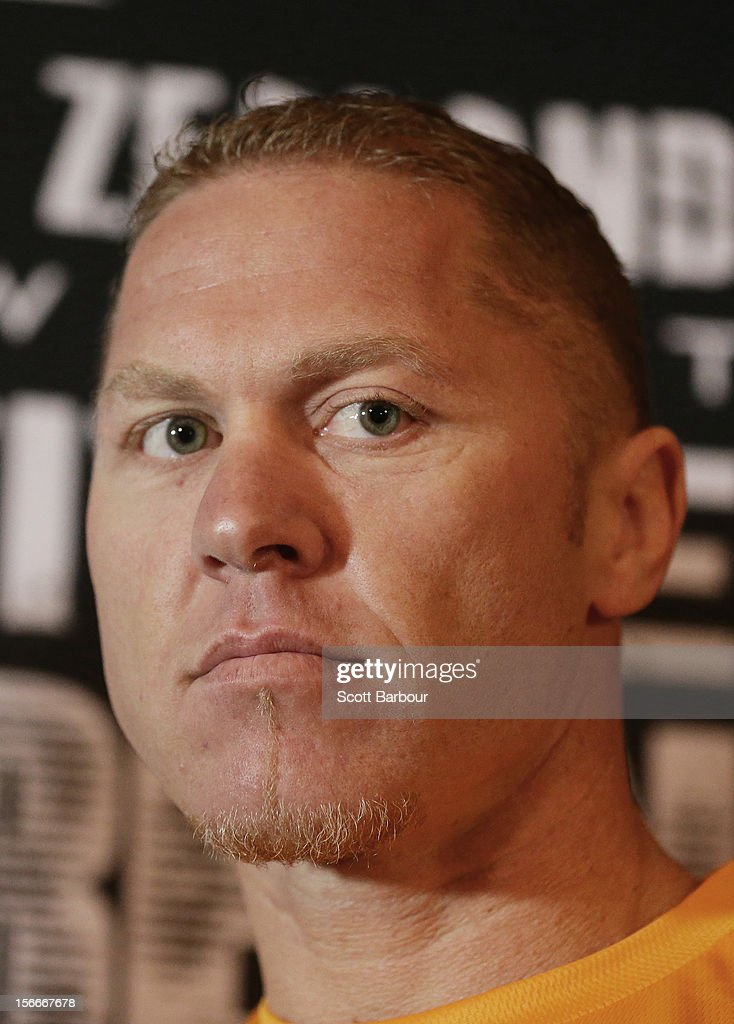Shane Cameron of New Zealand looks on during a press conference at Crown Entertainment Complex on November 19, 2012 in Melbourne, Australia. Danny Green and Shane Cameron meet in an IBO World Title bout on Wednesday.