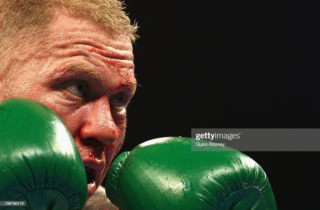 Shane Cameron of New Zealand prepares to fight during his world title bout against Danny Green of Australia at Hisense Arena on November 21, 2012 in Melbourne, Australia.
