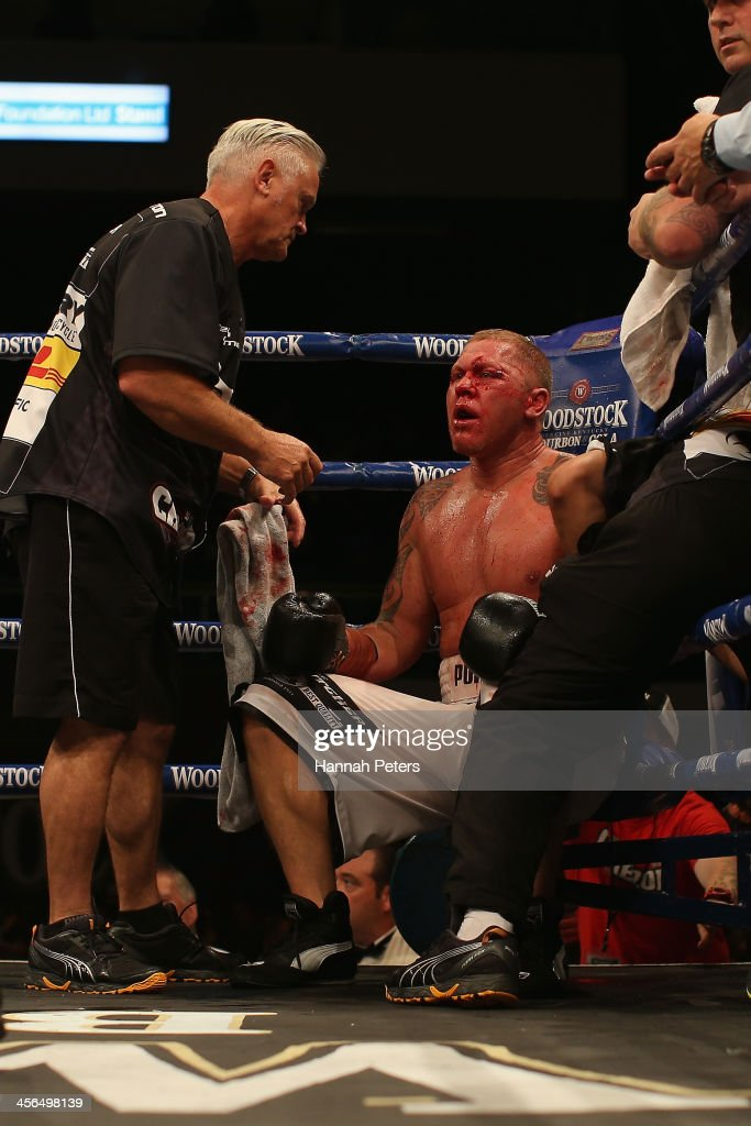 Shane Cameron of New Zealand sits in his corner during his fight against Brian Minto of the USA during 'Fight for Life' at The Trusts Stadium on...