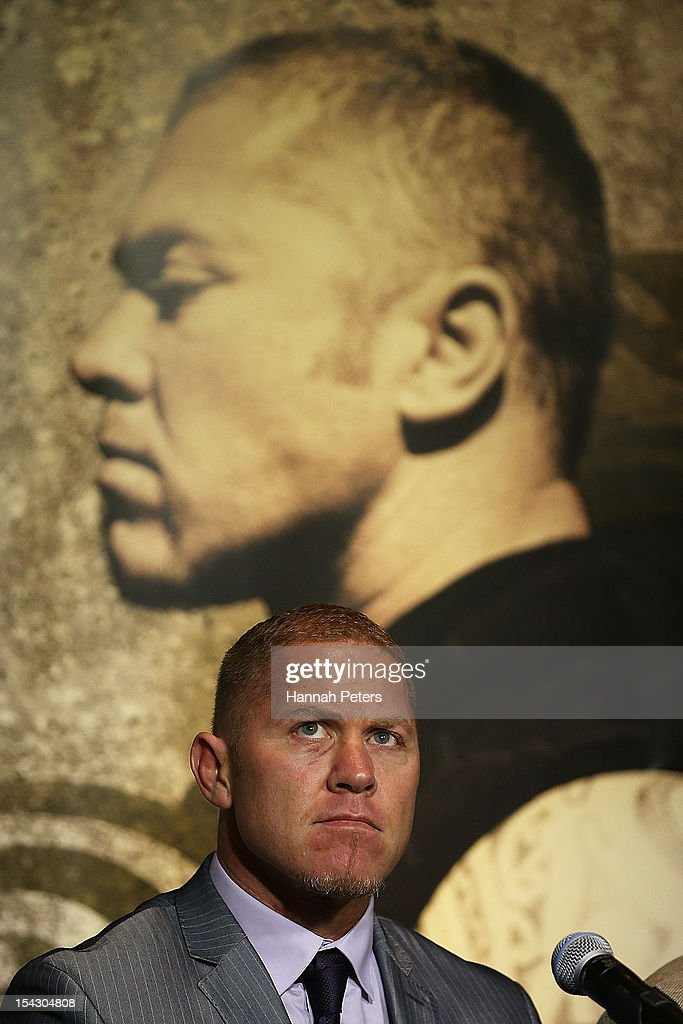 Shane Cameron speaks during a press conference at Sky City Convention Centre on October 18 2012 in Auckland New Zealand