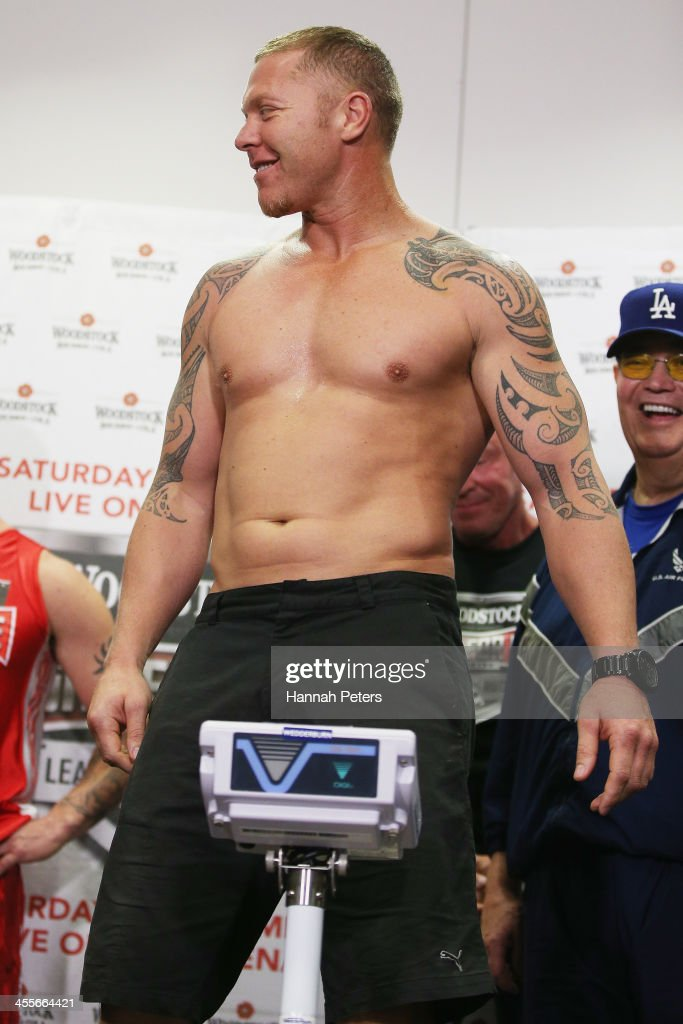 Shane Cameron stands on the scales during the weigh in ahead of tomorrow's Fight For Life at Waitakere Stadium on December 13 2013 in Auckland New...