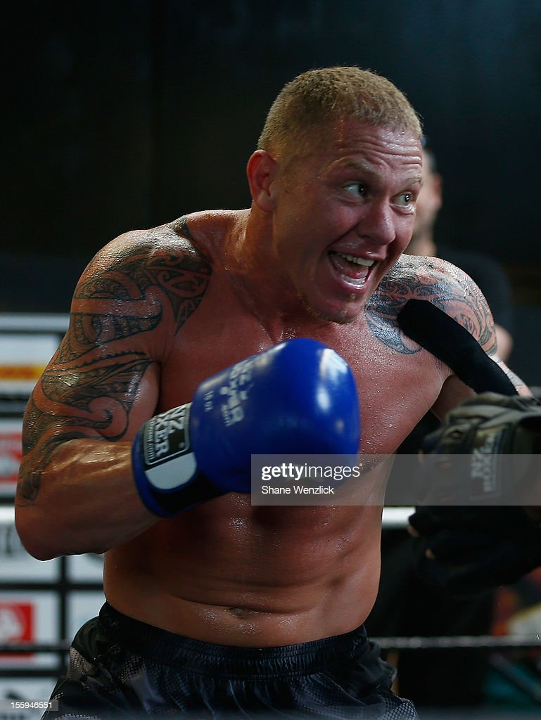 Shane Cameron throws punches during a training session at Shane Cameron Fitness on November 10 2012 in Auckland New Zealand