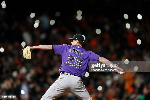 Shane Carle of the Colorado Rockies pitches in the eighth inning against the San Francisco Giants at ATT Park on April 14 2017 in San Francisco...