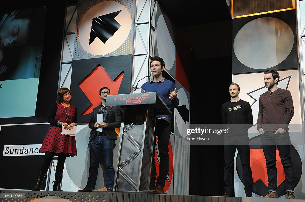 Shane Carruth accepts the award for the U.S. Dramatic Special Jury Award for Sound Design for the Movie Upstream Color at the Awards Night Ceremony during the 2013 Sundance Film Festival at Basin Recreation Field House on January 26, 2013 in Park City, Utah.