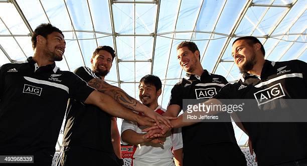 Shane Christie Elliot Dixon Fumiaki Tanaka of Japan Joe Wheeler and Kane Hames pose for a photo during the Maori All Blacks 2014 Asian Tour...