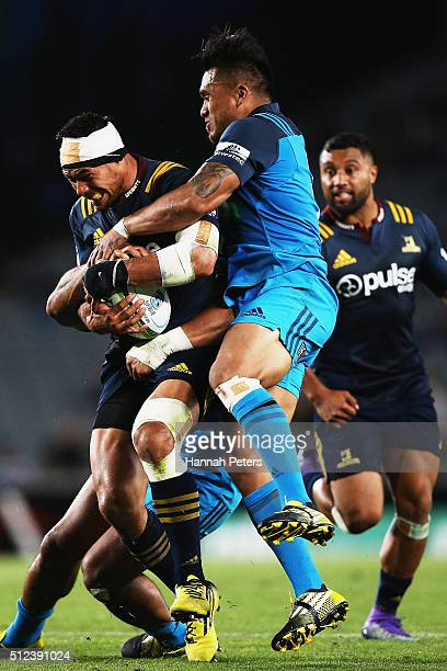 Shane Christie of the Highlanders charges forward during the round one Super Rugby match between the Blues and the Highlanders at Eden Park on...