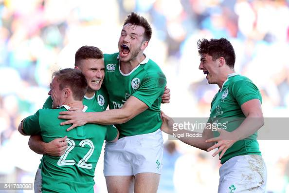 Shane Daly of Ireland celebrates scoring a try with teamates during the World Rugby U20 Championship Semi Final between Ireland and Argentina at The...