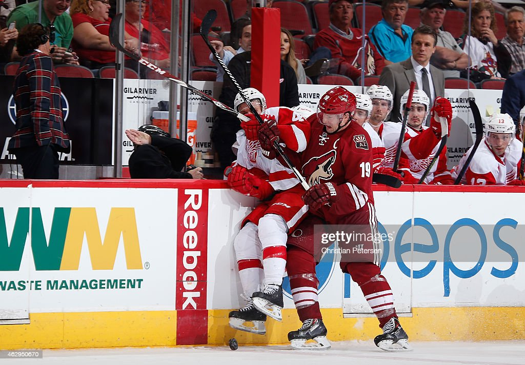 Shane Doan #19 of the Arizona Coyotes lays a body check onto Luke Glendening #41 of the Detroit Red Wings during the third period of the NHL game at Gila River Arena on February 7, 2015 in Glendale, Arizona. The Red Wings defeated the Coyotes 3-1.