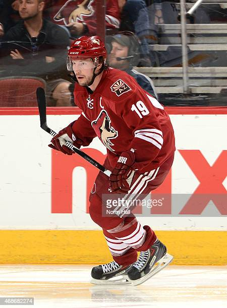 Shane Doan of the Arizona Coyotes skates up ice against the Buffalo Sabres at Gila River Arena on March 30 2015 in Glendale Arizona