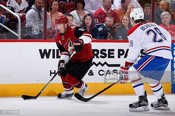 Shane Doan of the Arizona Coyotes skates with the puck during the NHL game against the Montreal Canadiens at Gila River Arena on February 15 2016 in...