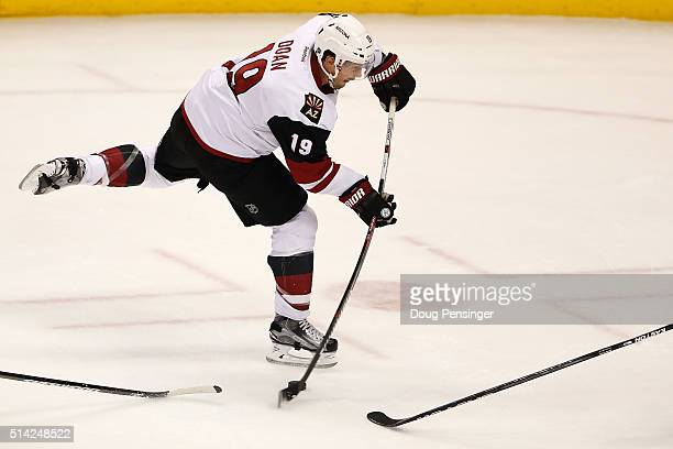 Shane Doan of the Arizona Coyotes takes a shot against the Colorado Avalanche at Pepsi Center on March 7 2016 in Denver Colorado The Avalanche...
