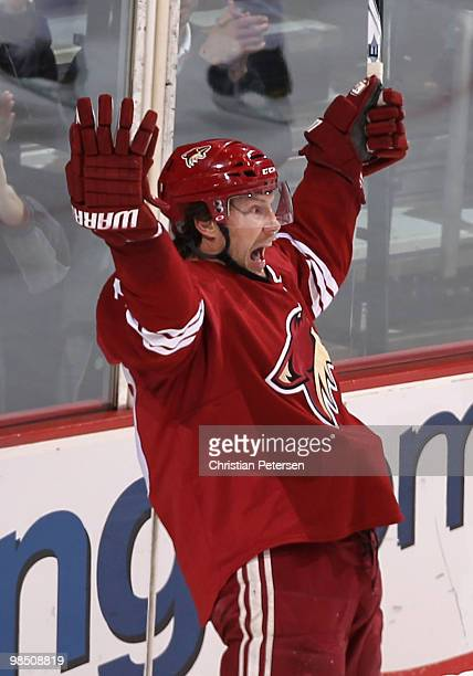 Shane Doan of the Phoenix Coyotes celebrates after scoring a third period goal against the Detroit Red Wings in Game Two of the Western Conference...