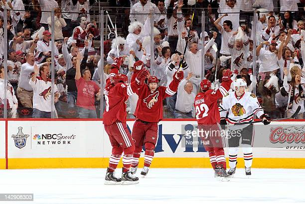 Shane Doan of the Phoenix Coyotes celebrates with teammates after a goal against the Chicago Blackhawks in Game Two of the Western Conference...