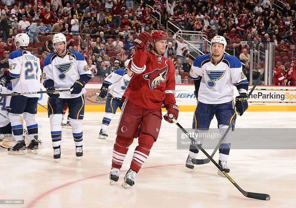 <a gi-track='captionPersonalityLinkClicked' href=/galleries/search?phrase=Shane+Doan&family=editorial&specificpeople=201614 ng-click='$event.stopPropagation()'>Shane Doan</a> #19 of the Phoenix Coyotes pumps his fist after his second period goal against the St Louis Blues at Jobing.com Arena on March 7, 2013 in Glendale, Arizona.