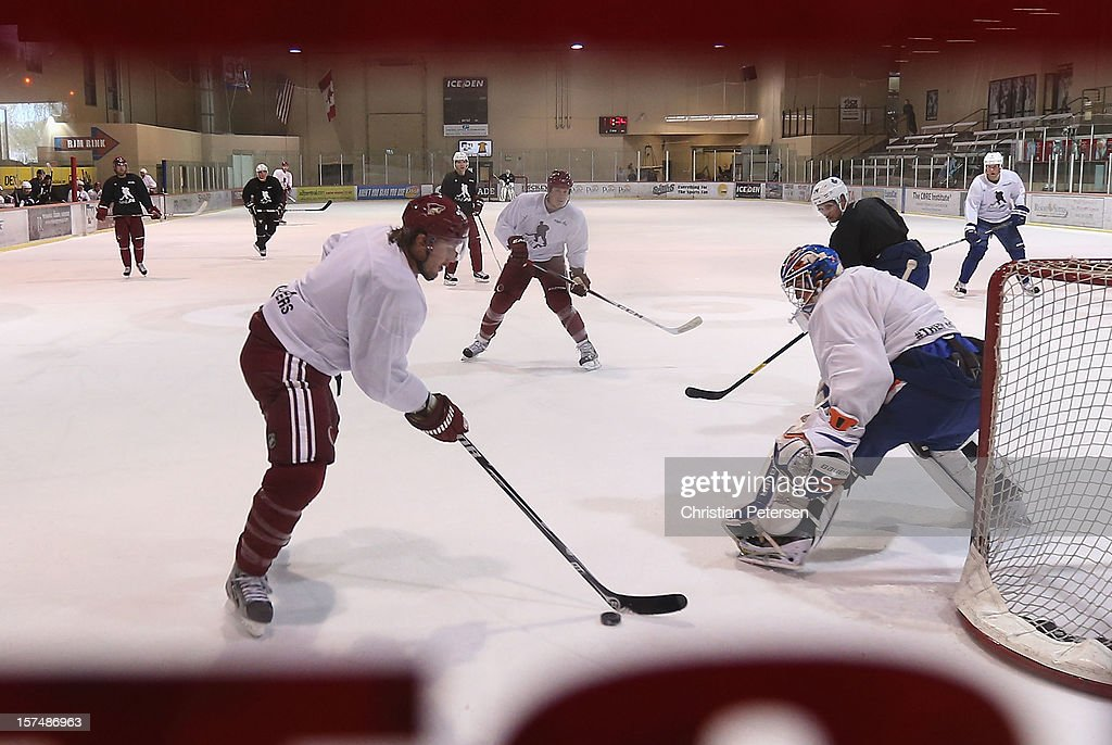 Shane Doan #19 of the Phoenix Coyotes skates with the puck as he participates in a workout at the Ice Den on December 3, 2012 in Scottsdale, Arizona. More than a dozen players from around the league that are not able to play during the NHL lockout have been attending workouts at the Phoenix Coyotes practice rink.