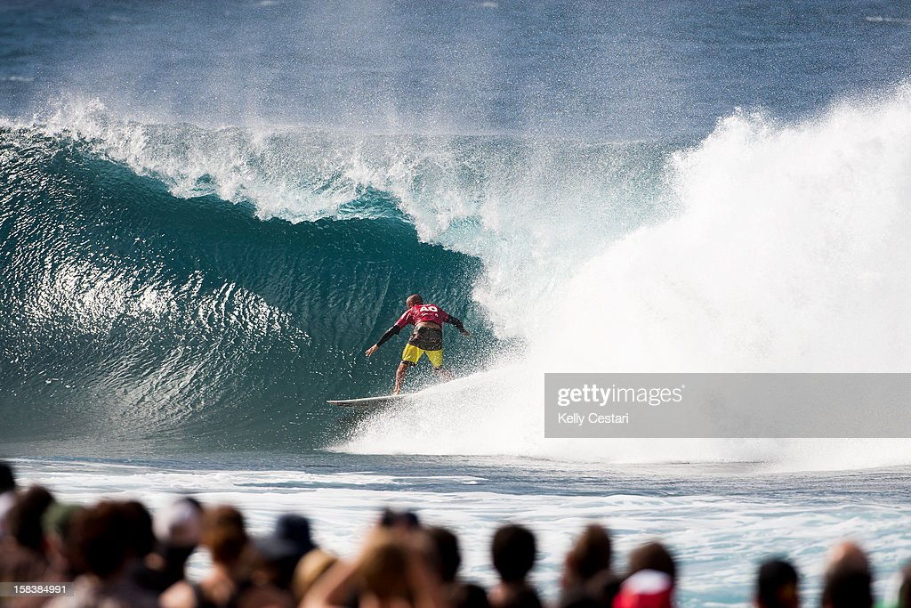 Shane Dorian of Hawaii placed equal 5th in the Billabong Pipe Masters in Memory of Andy Irons at Pipeline on December 14, 2012 in North Shore, United States.