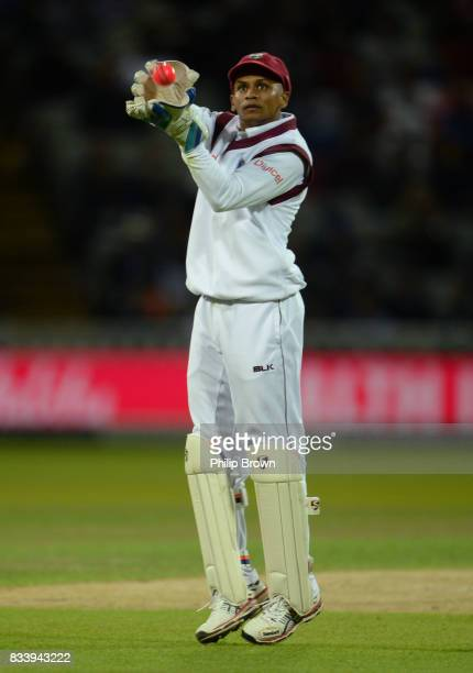 Shane Dowrich of the West Indies catches the ball during the first day of the 1st Investec Test match between England and the West Indies at...