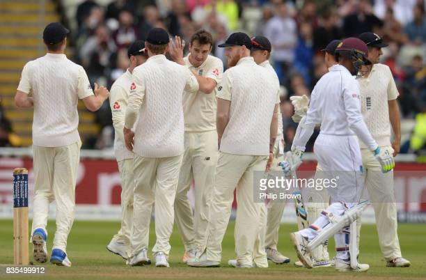 Shane Dowrich of the West Indies leaves the field after being dismissed by Toby RolandJones of England during the third day of the 1st Investec Test...