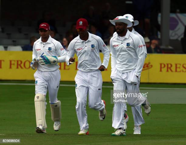 LR Shane Dowrich of West Indies Kraigg Brathwaite of West Indies and Kyle Hope of West Indies during the Domestic First Class Multi Day match between...