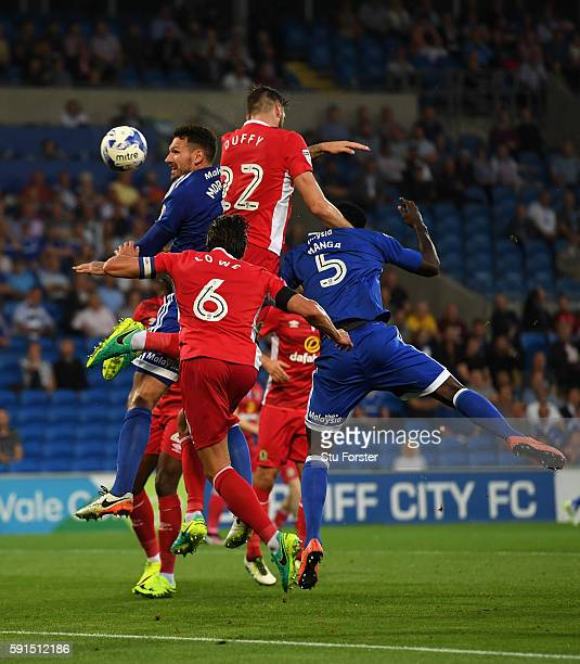 Shane Duffy of Blackburn heads in the second Cardiff goal for his second own goal during the Sky Bet Championship match between Cardiff City and...