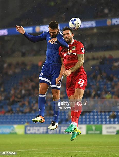 Shane Duffy of Blackburn scorer of two own goals in the match is challenged by Sean Morrison of Cardiff during the Sky Bet Championship match between...