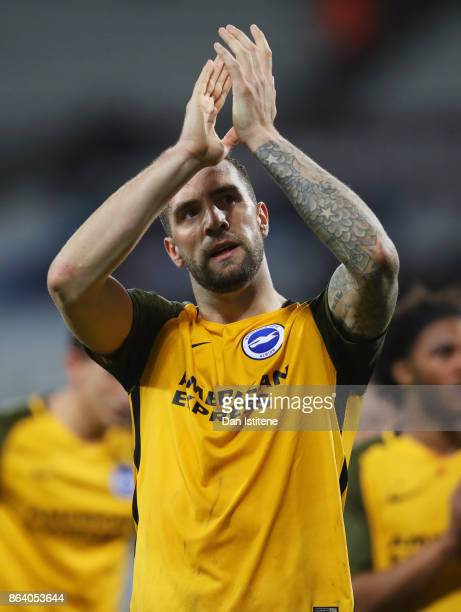 Shane Duffy of Brighton and Hove Albion applauds the travelling fans in victory after the Premier League match between West Ham United and Brighton...