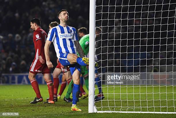 Shane Duffy of Brighton and Hove Albion reaccts after a missed chance during the Sky Bet Championship match between Brighton Hove Albion and Cardiff...