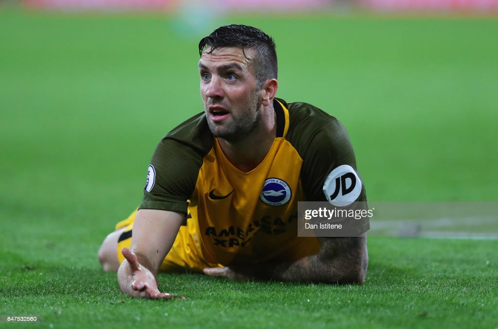 Shane Duffy of Brighton and Hove Albion reacts during the Premier League match between AFC Bournemouth and Brighton and Hove Albion at Vitality Stadium on September 15, 2017 in Bournemouth, England.