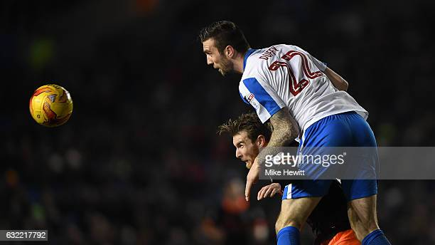 Shane Duffy of Brighton gets above Sam Winnall of Sheffield Wednesday during the Sky Bet Championship match between Brighton Hove Albion and...