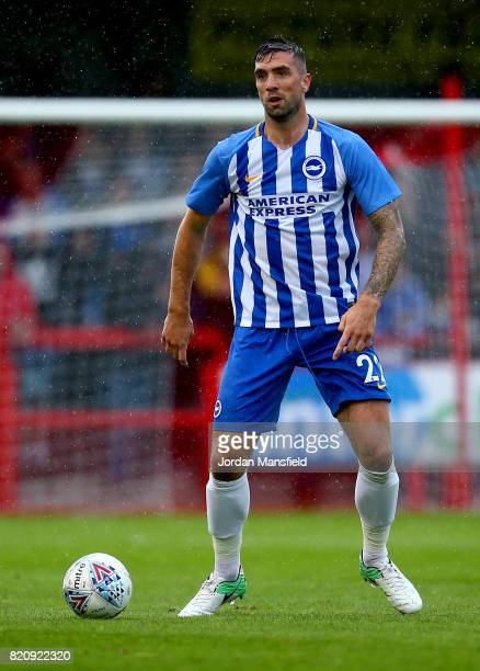 Shane Duffy of Brighton in action during the Pre Season Friendly match between Crawley Town and Brighton Hove Albion at Broadfield Stadium on July 22...
