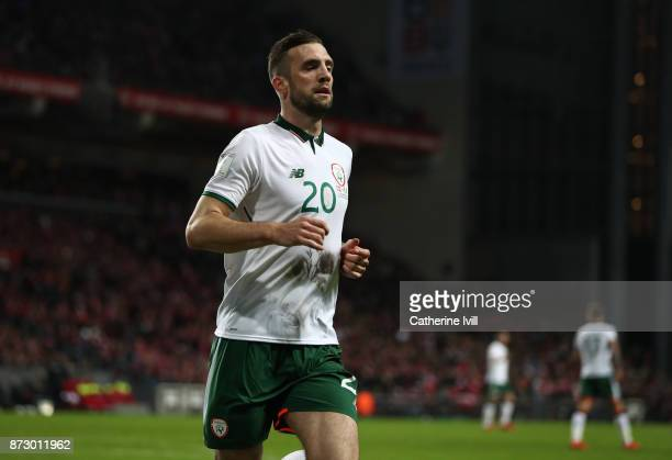 Shane Duffy of Republic of Ireland during the FIFA 2018 World Cup Qualifier PlayOff First Leg between Denmark and Republic of Ireland at Telia Parken...