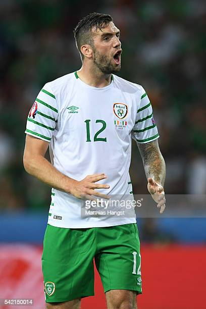 Shane Duffy of Republic of Ireland in action during the UEFA EURO 2016 Group E match between Italy and Republic of Ireland at Stade PierreMauroy on...