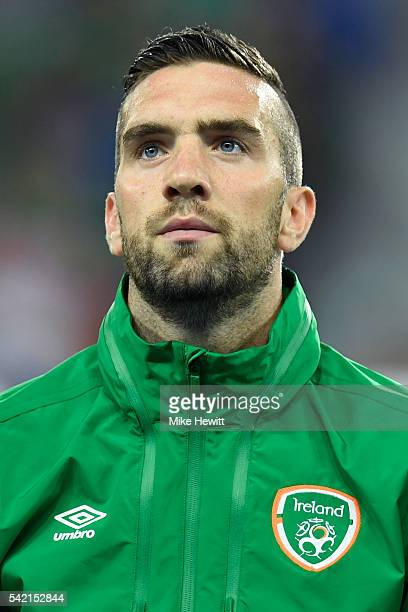 Shane Duffy of Republic of Ireland is seen prior to the UEFA EURO 2016 Group E match between Italy and Republic of Ireland at Stade PierreMauroy on...