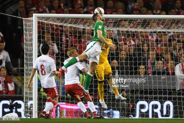 Shane Duffy of the Republic of Ireland scores his sides first goal during the FIFA 2018 World Cup Qualifier PlayOff Second Leg between Republic of...