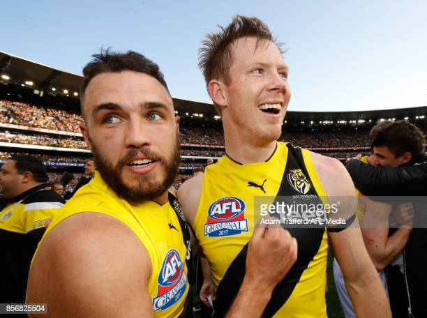 Shane Edwards and Jack Riewoldt of the Tigers celebrate during the 2017 Toyota AFL Grand Final match between the Adelaide Crows and the Richmond...