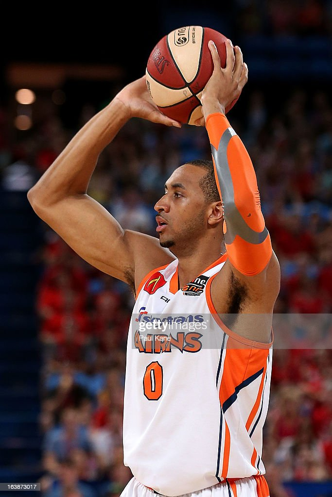 Shane Edwards of the Taipans looks to pass the ball during the round 23 NBL match between the Perth Wildcats and the Cairns Taipans at Perth Arena on March 17, 2013 in Perth, Australia.