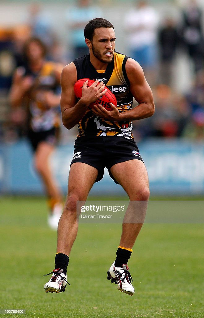 Shane Edwards of the Tiger holds the ball during the AFL practice match between the Richmond Tigers and the Western Bulldogs at Visy Park on March 16, 2013 in Melbourne, Australia.