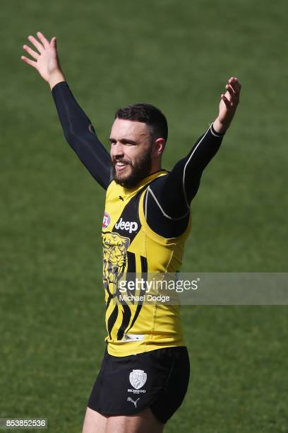 Shane Edwards of the Tigers calls for the ball during a Richmond Tigers AFL training session at Punt Road Oval on September 26 2017 in Melbourne...