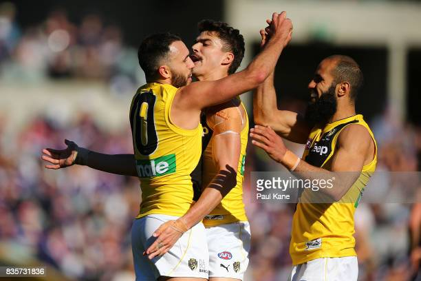 Shane Edwards of the Tigers celebrates a goal with Oleg Markov and Bachar Houli during the round 22 AFL match between the Fremantle Dockers and the...