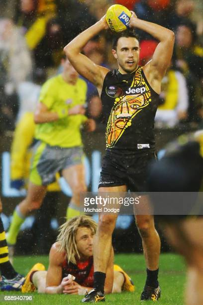 Shane Edwards of the Tigers celebrates the win on the final siren as Dyson Heppell of the Bombers looks dejected during the round 10 AFL match...