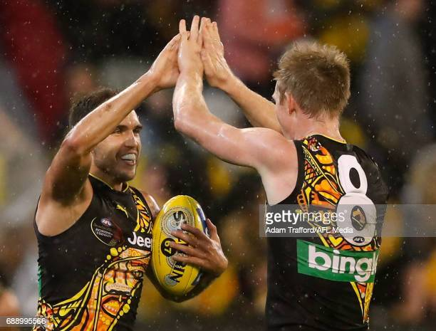 Shane Edwards of the Tigers celebrates with Jack Riewoldt of the Tigers during the 2017 AFL round 10 Dreamtime at the G match between the Richmond...