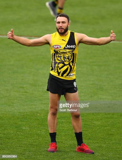 Shane Edwards of the Tigers getsures during a Richmond Tigers AFL training session at Punt Road Oval on September 21 2017 in Melbourne Australia
