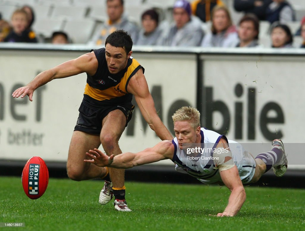 Shane Edwards of the Tigers is challenged by <a gi-track='captionPersonalityLinkClicked' href=/galleries/search?phrase=Adam+McPhee&family=editorial&specificpeople=206599 ng-click='$event.stopPropagation()'>Adam McPhee</a> of the Dockers during the round 11 AFL match between the Richmond Tigers and the Fremantle Dockers at Melbourne Cricket Ground on June 9, 2012 in Melbourne, Australia.